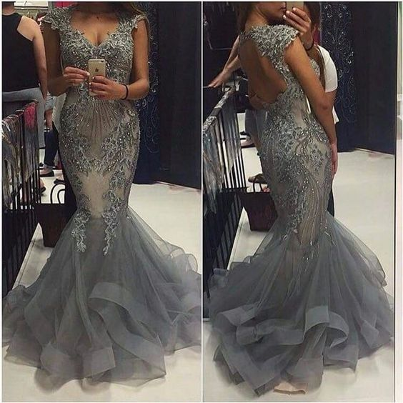 charming cap sleeves beaded mermaid open back long grey prom dress, PD45514