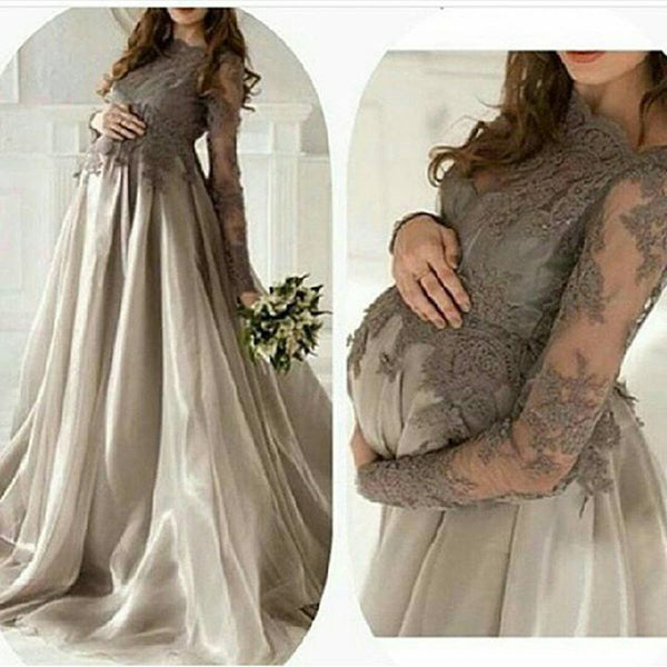 maternity grey lace top long sleeves A-line long prom dress, PD6525