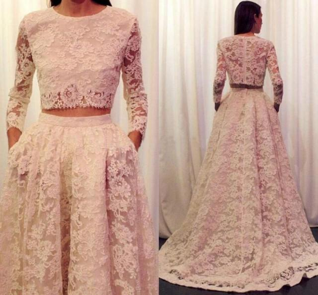 Two Pieces Light Pink Lace Long Sleeves Prom Dress Pd5787 Us0 Pic Color