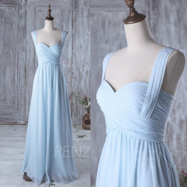 light blue chiffon long bridesmaid dresses ,BD46572