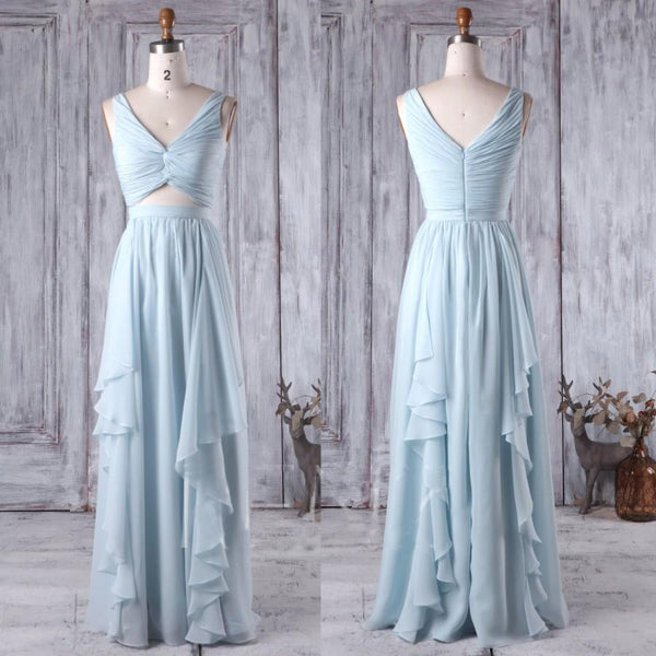 v-neck chiffon light blue long bridesmaid dress, BD46578