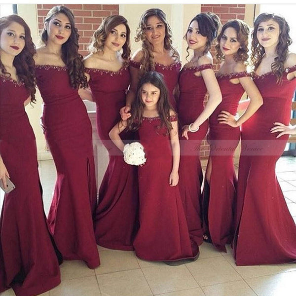 burgundy off shoulder elegant mermaid 2017 cheap bridesmaid dresses, BD2022