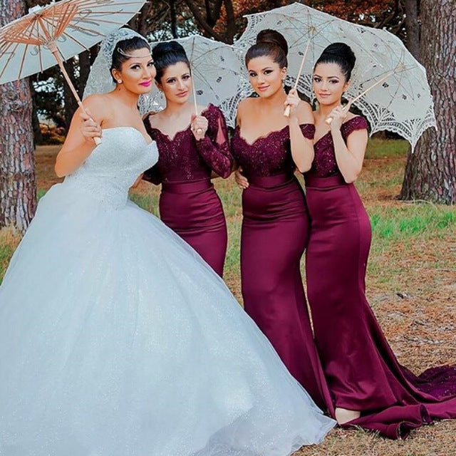 formal burgundy mermaid long Bridesmaid Dresses, BD2441