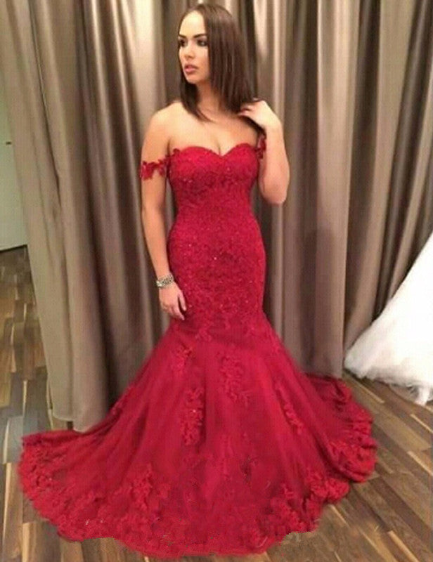 54e24556c1 red off shoulder mermaid lace charming long prom dress 2017