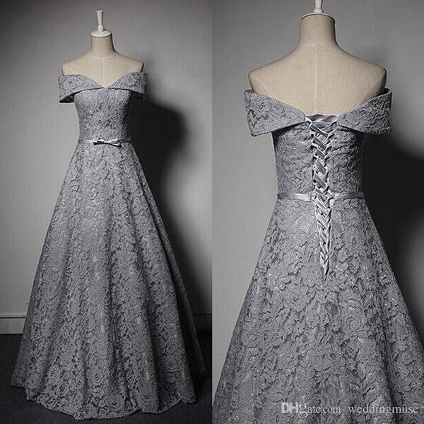 off shoulder gray lace A-line long prom dress, PD8877