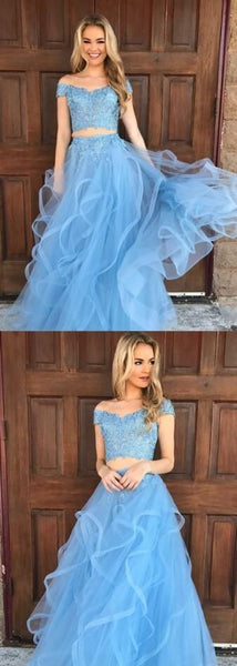 off shoulder beaded top blue two pieces long prom dress, PD5689