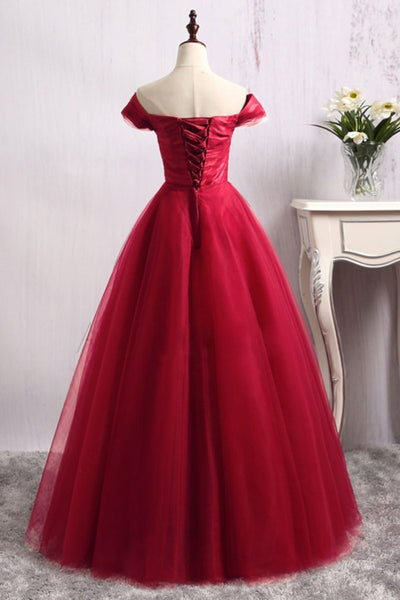 off shoulder A-line tulle lace up back long prom dress, PD5212