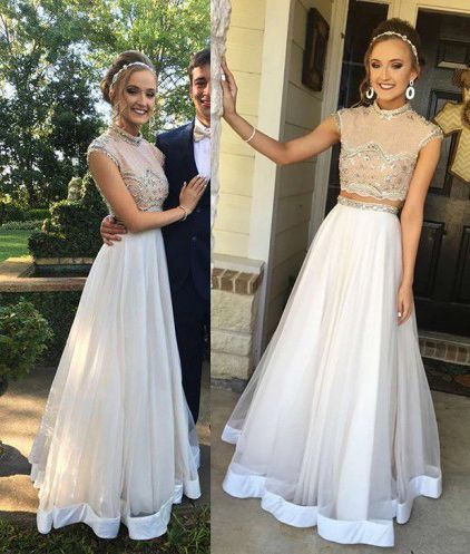 charming two pieces white tulle long prom dress, PD5214
