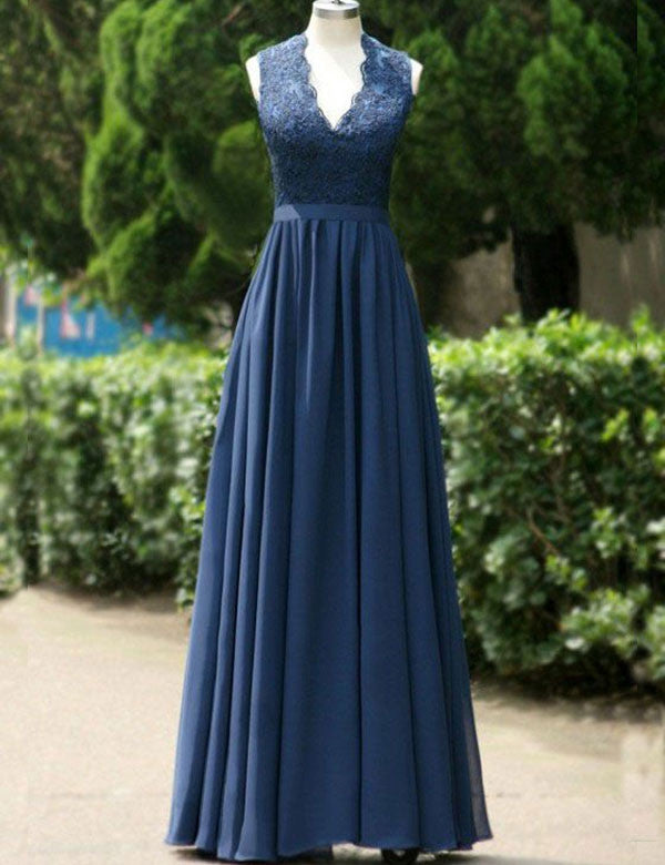 Modern Bridesmaid Dress,V-neck Bridesmaid Dress,A-line Bridesmaid Dress,Dark Blue Bridesmaid Dress, Long Bridesmaid Dress, PD23