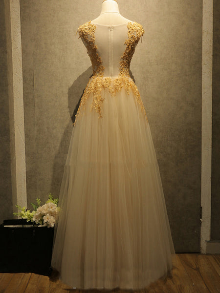 tulle gold lace appliques top long prom dress, PD1699