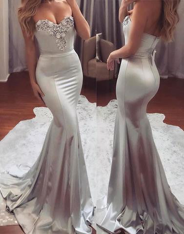 gray long mermaid sweetheart 2017 prom dress, PD1141