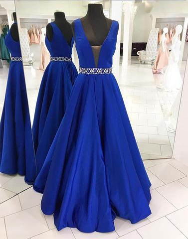 2017 elegant A-line royal blue satin long prom dress, PD65478