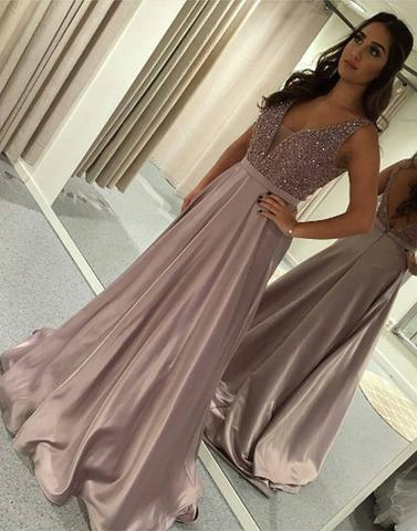 2017 beaded v-neck long satin prom dress, PD4487
