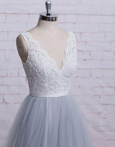 gray tulle A-line v-neck long lace prom dress, PD6845