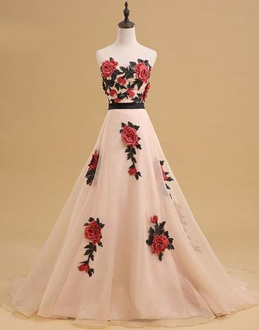strapless A-line flower appliques long prom dress, PD1364
