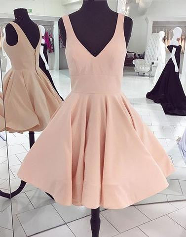 blush pink simple short A-line satin homecoming dress for girls, BD3889