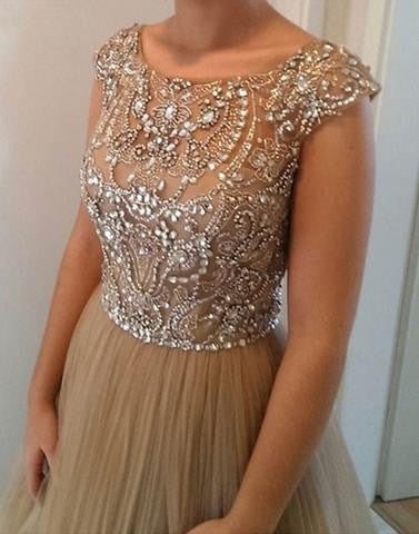 charming cap sleeves tulle beaded long prom dress, PD9977