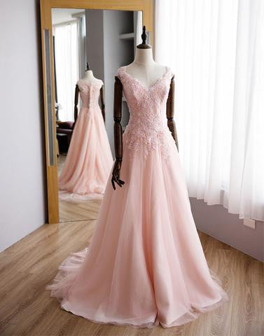 cap sleeves light pink v-neck long prom dress, PD9977