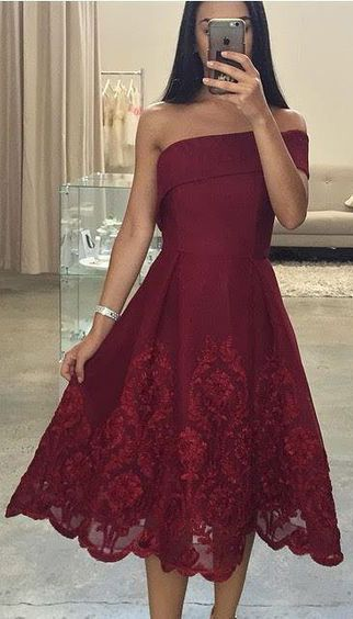 8c41b931fed one shoulder burgundy lace short prom dress for girls – BSBRIDAL
