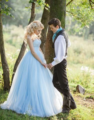 A-line light blue tulle sweetheart long prom dress for party, BD7814