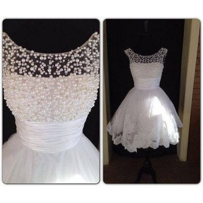 white short homecoming dress for girls with pearls, cheap prom dress, BD39772