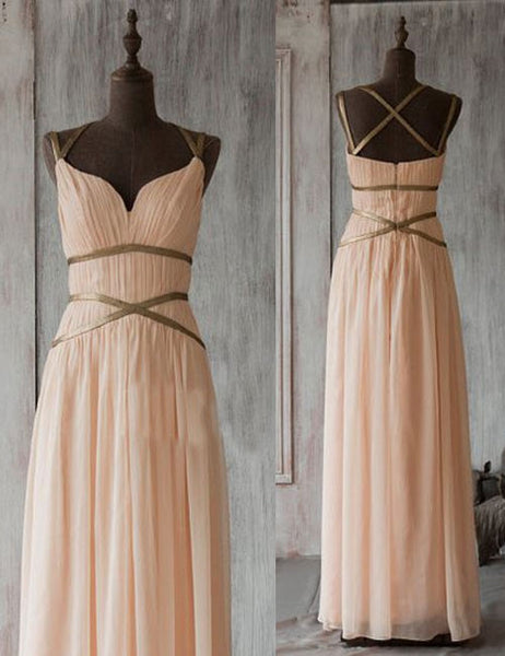 Simple Bridesmaid Dress,Long Bridesmaid Dress,A-line Bridesmaid Dress,Chiffon Bridesmaid Dress, Unique Bridesmaid Dress, PD27