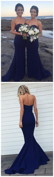 sweetheart blue long simple Bridesmaid Dresses,BD4547