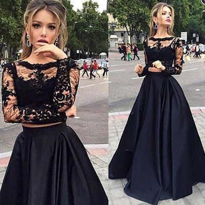 2017 A Line long sleeves black lace two-piece Party Dress the popular hot sale charming evening dress for party, BD117