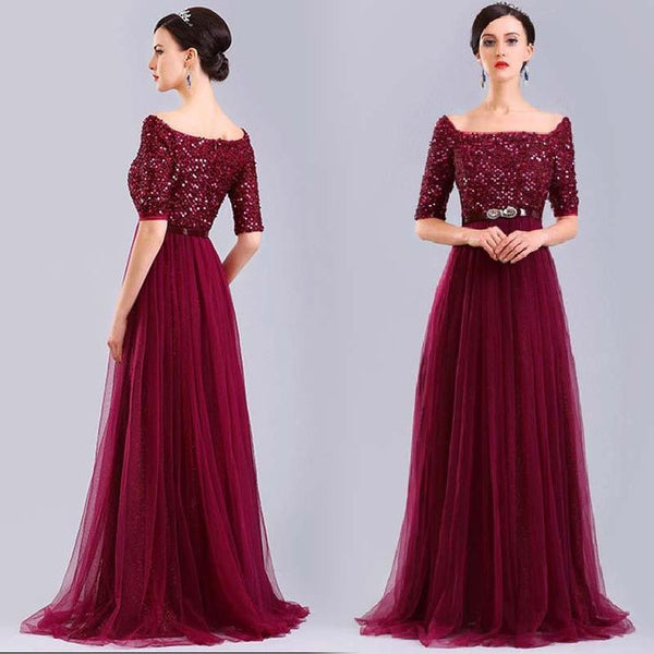 burgundy long off shoulder tulle sequin top prom dress with sleeves, PD5670