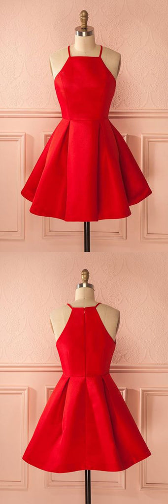 red satin cheap A-line charming short homecoming dress, BD4845