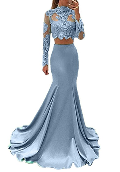 two pieces lace top long sleeves mermaid cheap prom dress, BD7680