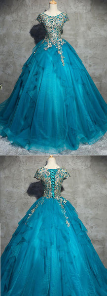 formal short sleeves A-line blue long prom dress, PD7863