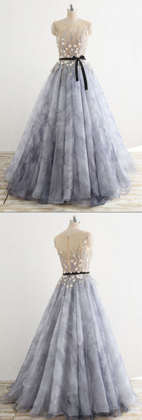 2018 new arrive A-line round neck gray long prom dress, PD2139