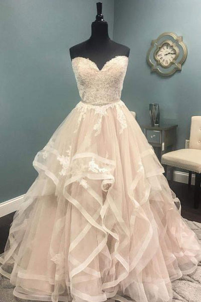 sweetheart A-line ivory long wedding prom dress, PD4491
