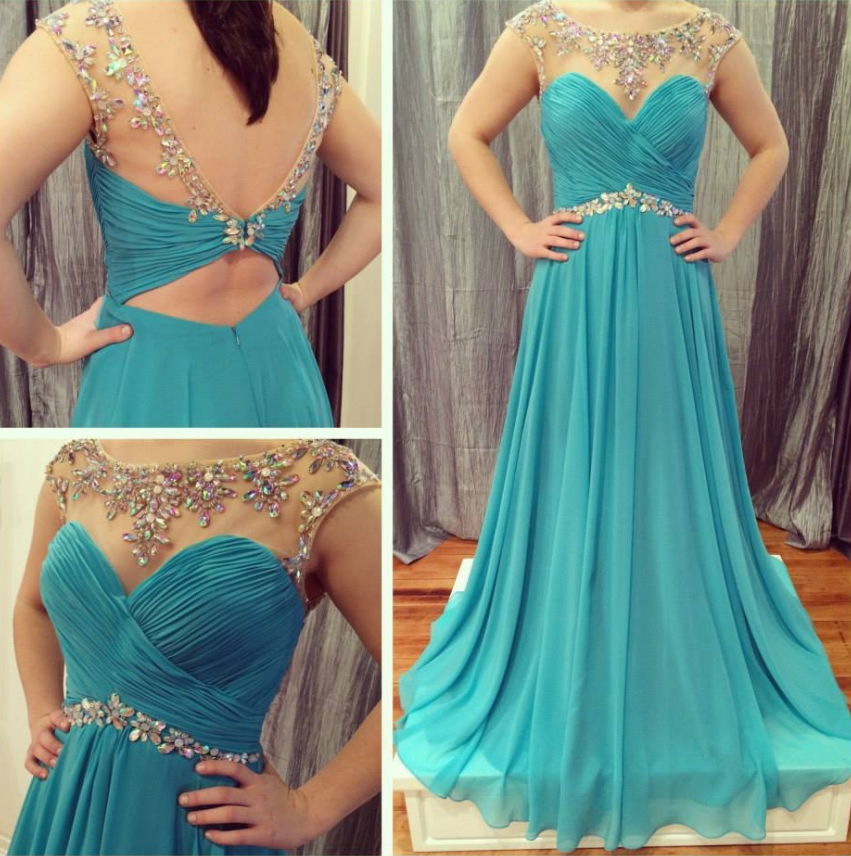 cap sleeves beaded blue chiffon long 2017 prom dress, PD9671