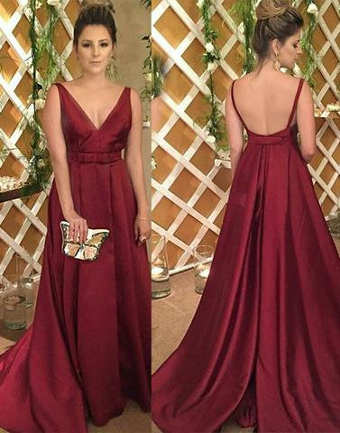 burgundy v-neck formal elegant long 2017 prom dress, PD45696
