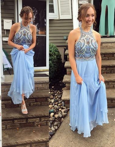 light blue beaded top halter chiffon prom dress, 2017 evening gown, PD45685
