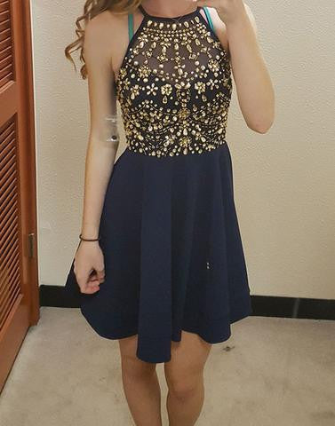 navy blue homecoming dress, short prom dress, beaded homecoming dress, cheap homecoming dress, junior prom dress, BD3899