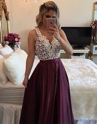 A Line prom dress, burgundy prom dress, 2017 prom dress, long prom dress, charming prom gown, BD12634