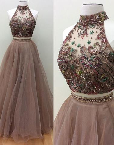 two pieces prom dress, A-line prom dress, long prom dress, brown prom dress, 2017 prom dress, BD12648