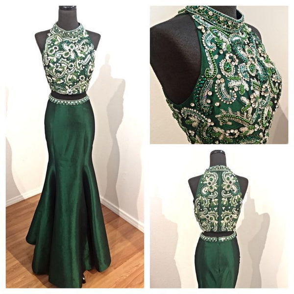 two-pieces mermaid beaded formal green long prom dress, PD8852