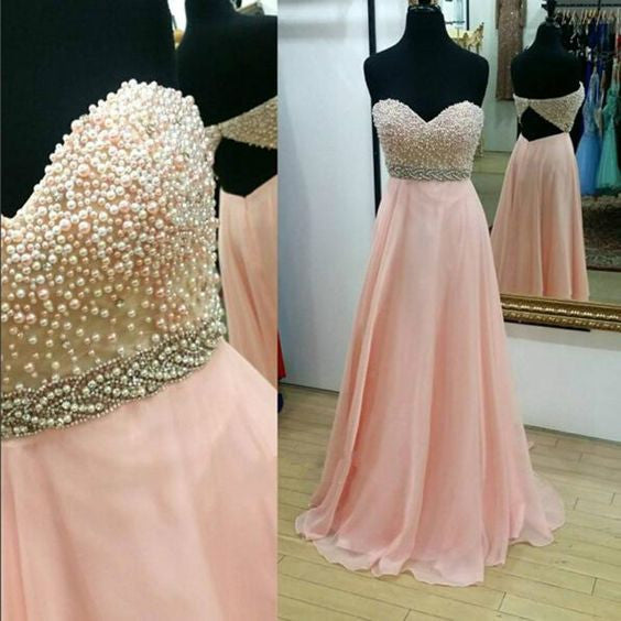 pink prom dress, long prom dress, beaded prom dress, sweetheart prom dress, cheap evening dress, BD271
