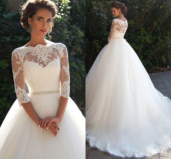 elegant A-line long sleeves formal long wedding dress, WD239