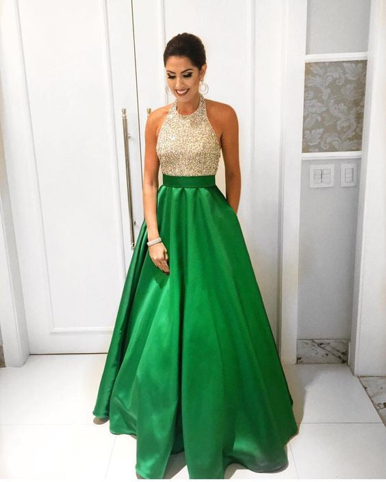 green prom dress, beaded prom Dress, A-line prom dress, charming prom dress, halter prom dress, BD393