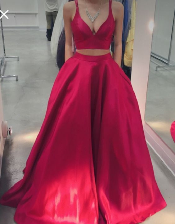 red prom dress, long prom dress, two-pieces prom dress, A-line evening dress, 2017 prom dress, BD492
