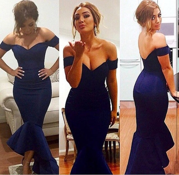 blue prom dress, long prom dress, formal mermaid prom dress, off shoulder prom dress, hi-lo evening dress, BD95