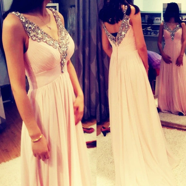 blush pink prom dress, long prom dress, charming prom dress, v-neck prom dress, chiffon evening dress, BD96