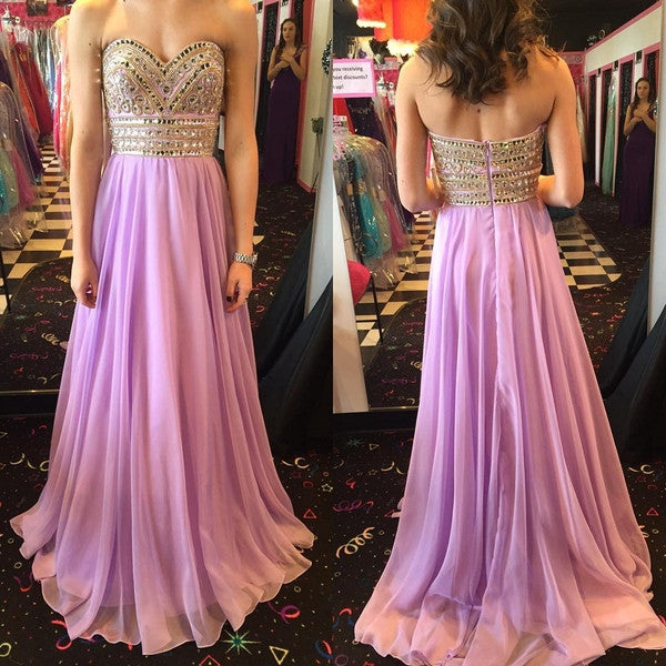 lilac prom dress, long prom dress, sweetheart prom dress, beaded prom dress, charming evening dress, BD97