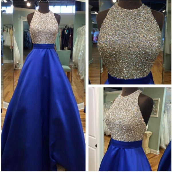 A-line prom dress, long prom dress, royal blue prom dress, charming prom dress, evening gown 2017, BD116