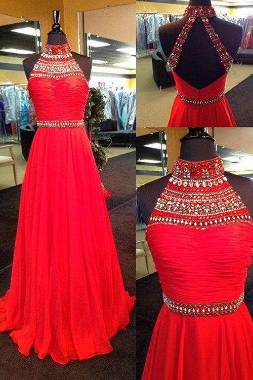 red prom dress, long prom dress, charming prom dress, high neck prom dress, evening gown 2017, BD119